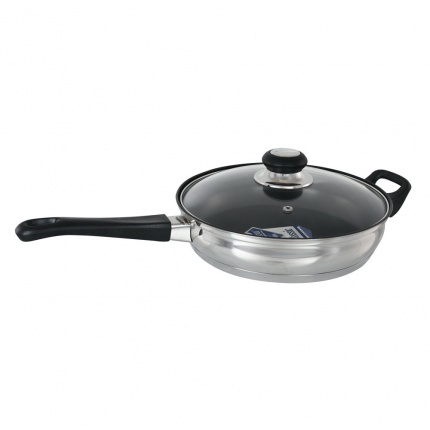 Buckingham Induction Saute Pan 24cm Bakelite handle with Glass Lid, Non-stick coating