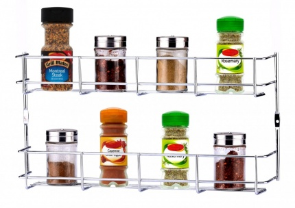 Buckingham 2 Tier Door Mounted Spice Rack Jar Holder Kitchen Cupboard Wall Storage, Metal, Chrome, 40.5 x 6.2 x 21 cm