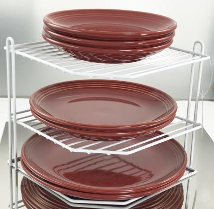 Buckingham 3 Tier Corner Plate Kitchen Cupboard Organiser, Storage Rack White
