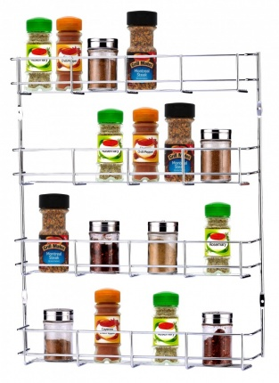 Buckingham 4 Tier Back of Door Spice Jar and Packet Rack, Metal, Chrome, 40.5 x 6 x 50 cm