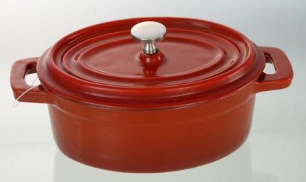 Cast Iron Mini Oval Casserole Red 12 cm X 9 cm / 0.23 Litre