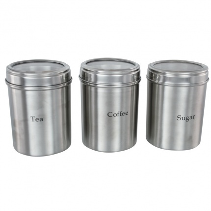 Set of 3 Canisters 10cm with Acrylic Lid
