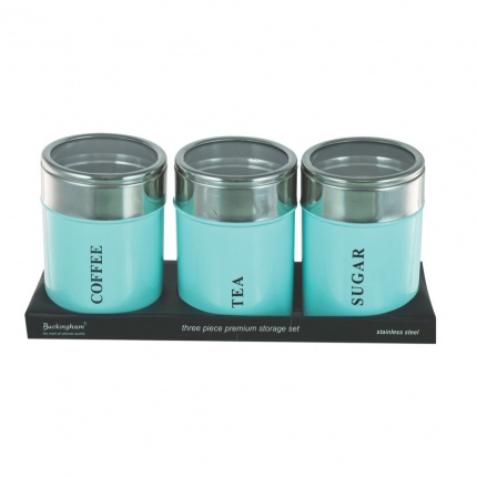 Set of 3 Canisters Baby Green with Acrylic Lid