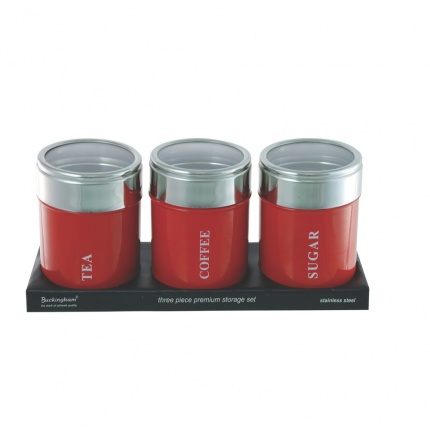Set of 3 Canisters Red with Acrylic Lid
