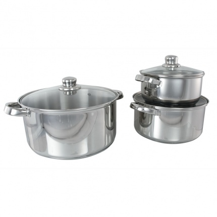 Set of 3 Dutch Ovens (20, 24, 28cm) with Glass Lid