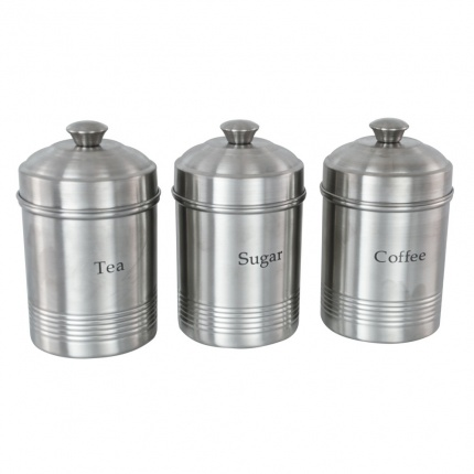 Set of 3 Ribbed Canisters (Matt Finish)