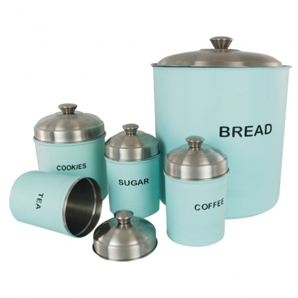 Set of 5 Ribbed Canisters Baby Green