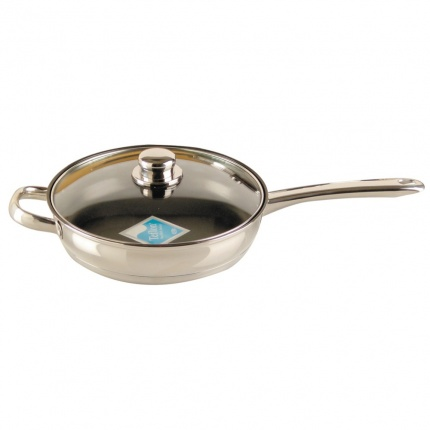 Buckingham Induction Saute Pan 24cm Stainless Steel Handles with Glass Lid, Non-stick coating