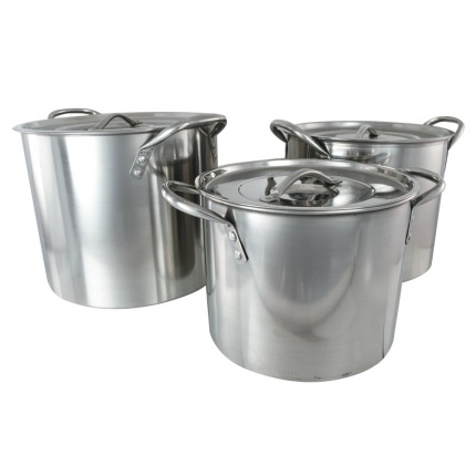 Buckingham Set of 3 Stainless Steel Stock Pots 6, 8 & 11 Ltr.