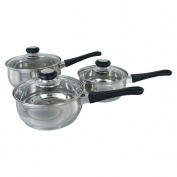 BH Set of 3 Saucepans (16, 18, 20cm) with Glass Lid