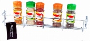 Buckingham 1 Tier Door Mounted Spice Rack Jar Holder Kitchen Cupboard Wall Storage, Metal, Chrome, 40.5 x 6.2 x 6 cm