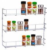 Buckingham 3 Tier Door Mounted Spice Rack Jar Holder Kitchen Cupboard Wall Storage, Metal, Chrome, 40.5 x 6.2 x 35 cm