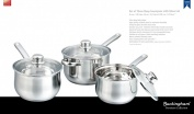 Buckingham Set of Three Deep Saucepans with Glass Lid 16 cm / 1.8 L, 18 cm / 2.5 L, 20 cm / 3.5 L