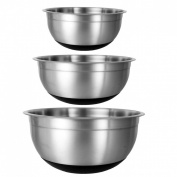 Buckingham Stylish Set of Three Mixing Bowls with Silicon Base - BLACK