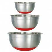 Buckingham Stylish Set of Three Mixing Bowls with Silicon Base - Red