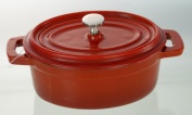 Cast Iron Mini Oval Casserole Red 12 cm X 9 cm / 0.23 Litre