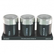Set of 3 Canisters Black with Acrylic Lid
