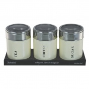 Set of 3 Canisters Cream with Acrylic Lid