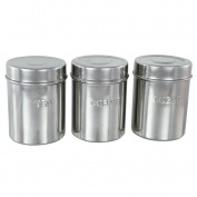 Set of 3 Embossed Canisters (Mirror Finish)