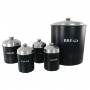 Set of 5 Ribbed Canisters Black