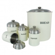 Set of 5 Ribbed Canisters Cream