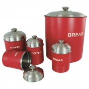 Set of 5 Ribbed Canisters Red